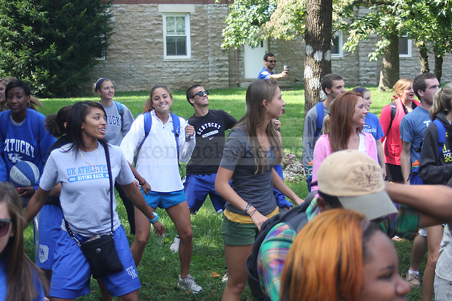"""Students gather outside of the Student Center to participate in """"The Wobble"""" a popular line dance on 9/22/11. Photo by Quianna Lige 
