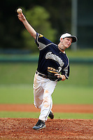 March 21, 2010:  Pitcher Mike Hackett (3) of the Genesee Community College Cougars delivers a pitch during a game at Holman Stadium at Dodgertown in Vero Beach, FL.  Photo By Mike Janes/Four Seam Images
