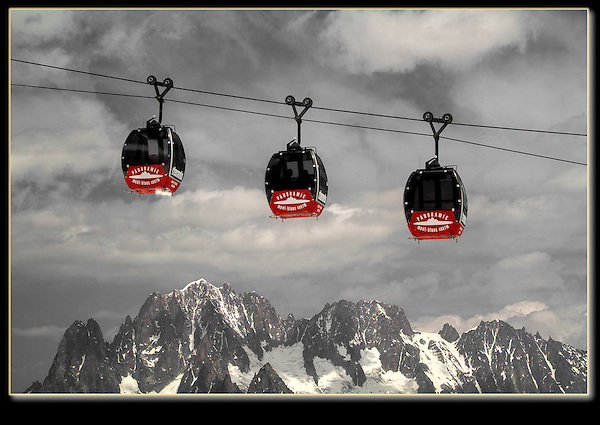 France, Chamonix.  <br /> The Hellbrenner Gondola traverses from France to Italy. John teaches Photoshop and Lightroom workshops.
