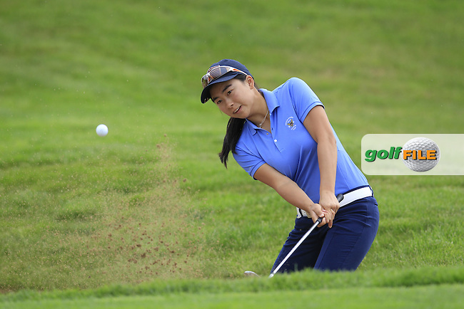 Mika Liu on the 4th during the Friday morning foursomes at the 2016 Curtis cup from Dun Laoghaire Golf Club, Ballyman Rd, Enniskerry, Co. Wicklow, Ireland. 10/06/2016.<br /> Picture Fran Caffrey / Golffile.ie<br /> <br /> All photo usage must carry mandatory copyright credit (&copy; Golffile | Fran Caffrey)