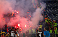 Calcio, Champions League, Gruppo E: Roma vs CSKA Mosca. Roma, stadio Olimpico, 17 settembre 2014.<br /> CSKA Moskva light flares during the Group E Champions League football match between AS Roma and CSKA Moskva at Rome's Olympic stadium, 17 September 2014.<br /> UPDATE IMAGES PRESS/Riccardo De Luca