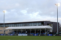 General view of the Main Stand at Chelsea's Training Ground with the UEFA Youth League banner at the front during Chelsea Under-19 vs Montpellier HSC Under-19, UEFA Youth League Football at the Cobham Training Ground on 13th March 2019
