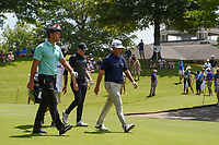 Bryson DeChambeau (USA), Chez Reavie (USA), and Matt Fitzpatrick (ENG) make their way down 1 during round 2 of the WGC FedEx St. Jude Invitational, TPC Southwind, Memphis, Tennessee, USA. 7/26/2019.<br /> Picture Ken Murray / Golffile.ie<br /> <br /> All photo usage must carry mandatory copyright credit (© Golffile | Ken Murray)