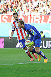 Atletico de Madrid´s goalkeeper Jan Oblak and Juanfran during 2014-15 La Liga match between Atletico de Madrid and Athletic Club at Vicente Calderon stadium in Madrid, Spain. May 02, 2015. (ALTERPHOTOS/Luis Fernandez)