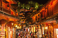 Lijiang's shopping streets come alive after dark.