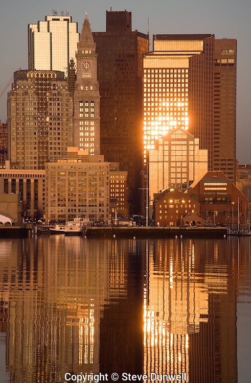 harbor skyline sunrise from East Boston, MA with Customs House tower