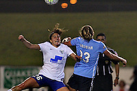 Piscataway, NJ - Friday May 13, 2016: Boston Breakers midfielder Angela Salem (26) and Sky Blue FC defender Kristin Grubka (13). Sky Blue FC defeated the Boston Breakers 1-0 during a regular season National Women's Soccer League (NWSL) match at Yurcak Field.