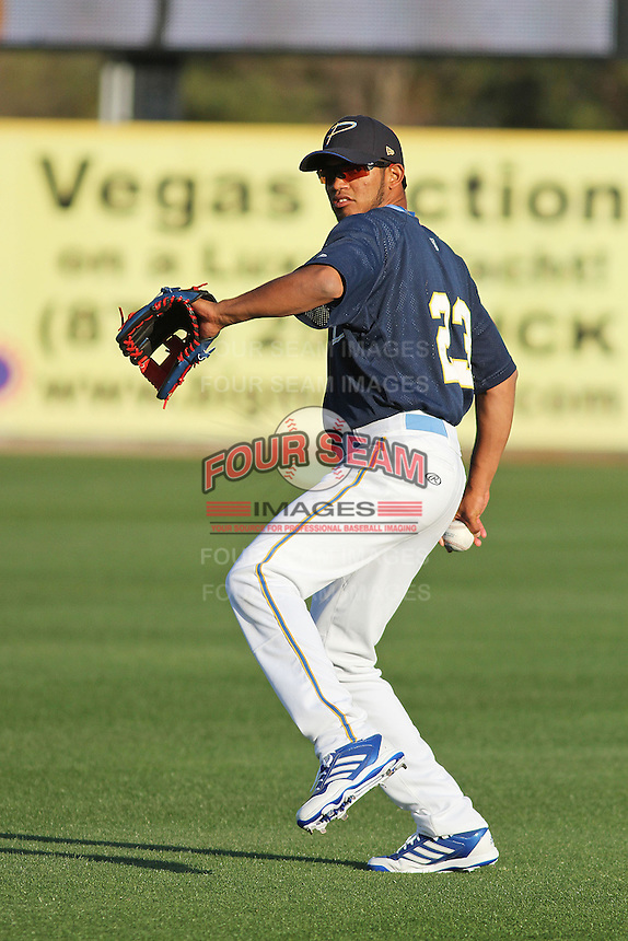Myrtle Beach Pelicans shortstop Luis Sardinas #23 throwing in the outfield during practice at Ticketreturn.com Field at Pelicans Park on April 2, 2012 in Myrtle Beach, South Carolina. Robert Gurganus/Four Seam Images)