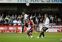 Capital One League Cup, Third Round, Crawley Town (red) V Swansea City (white) , 25/09/12. <br /> Pictured: DWight Teindalli of the Swans wins the header against Nicky Adams<br /> Picture by: Ben Wyeth / Athena Pictures<br /> info@athena-pictures.com<br /> 07763671695