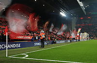 5th November 2019; Anfield, Liverpool, Merseyside, England; UEFA Champions League Football, Liverpool versus Genk; supporters on the Kop wave giant flags as they sing You'll Never Walk Alone prior to the kick off