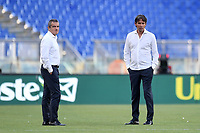 Simone Inzaghi, Lazio coach, and Massimiliano Farris before the Serie A football match between SS Lazio  and Brescia Calcio at stadio Olimpico in Roma (Italy), July 29th, 2020. Play resumes behind closed doors following the outbreak of the coronavirus disease. <br /> Photo Antonietta Baldassarre / Insidefoto