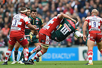 Ed Slater of Gloucester Rugby tackles Jonny May of Leicester Tigers. Aviva Premiership match, between Leicester Tigers and Gloucester Rugby on September 16, 2017 at Welford Road in Leicester, England. Photo by: Patrick Khachfe / JMP