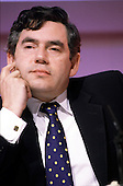 Chancellorof the Exchequer Gordon Brown at a press conference.