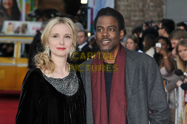 Julie Delpy and Chris Rock .attending the UK Premiere of '2 Days In New York' at the Odeon Cinema, Kensington, London, England, UK, .11th May 2012..two arrivals half length grey gray red scarf black velvet .CAP/MAR.© Martin Harris/Capital Pictures.