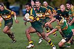 David Raikuna breaks past Michael Butcher. Counties Manukau Premier Club Rugby game between Drury and Pukekohe, played at the Drury Domain on Saturday June 12 2010.