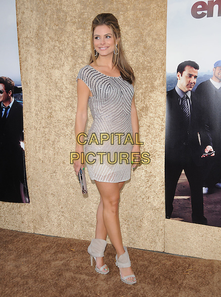 MARIA MENOUNOS.at the HBP Premiere of The 7th Season of Entourage held at Paramount Picture Studios in Hollywood, California, USA, June 16th 2010..full length dress silver sequined sequin clutch bag ankle boots booties grey gray open toe green nails pedicure flower art nail toes varnish polish patent beige suede platform .CAP/RKE/DVS.©DVS/RockinExposures/Capital Pictures.