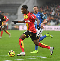 20181124 - LENS , FRANCE : Lens' Cyrille Bayala pictured during the soccer match between Racing Club de LENS and Grenoble Foot 38, on the 15th  matchday in the French Dominos pizza Ligue 2 at the Stade Bollaert Delelis stadium , Lens . Saturday 24 Novembre 2018 . PHOTO DIRK VUYLSTEKE | SPORTPIX.BE