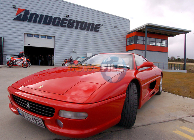 One of the Ferrari cars on Display at the opening of Bridgestone Irelands new facility in Balbriggan Co Dublin..Photo NEWSFILE/FRAN CAFFREY..(Photo credit should read FRAN CAFFREY/NEWSFILE)..Details from Colm Conyngham Bridgestone Ireland 01-8410000..This Picture has been sent you under the condtions enclosed by:.Newsfile Ltd..the Studio,.Millmount Abbey,.Drogheda,.Co Meath..Ireland..Tel: +353(0)41-9871240.Fax: +353(0)41-9871260.GSM: +353(0)86-2500958.email: pictures@newsfile.ie.www.newsfile.ie.FTP: 193.120.102.198..This picture is from Fran Caffrey@newsfile.ie