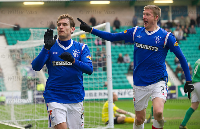 Nikica Jelavic heads in goal no 2 for Rangers and celebrates with Dorin Goian