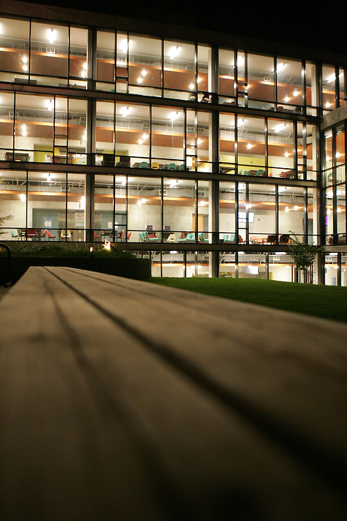 October 17, 2008; Santa Cruz, CA, USA; Exterior nighttime view of McHenry Library on the campus of UC Santa Cruz. Photo By: Phillip Carter