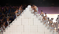 12 AUG 2012 - LONDON, GBR - Performers create a pyramid during the London 2012 Olympic Games Closing Ceremony in the Olympic Stadium in the Olympic Park, Stratford, London, Great Britain .(PHOTO (C) 2012 NIGEL FARROW)