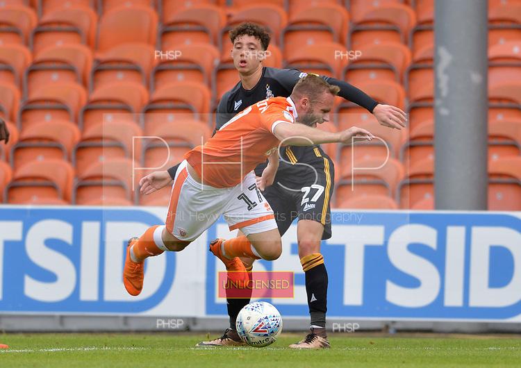 08/09/2018 Sky Bet League 1 Blackpool v Bradford City<br /> <br /> Ryan McLaughli fouled by Jordan Gibson