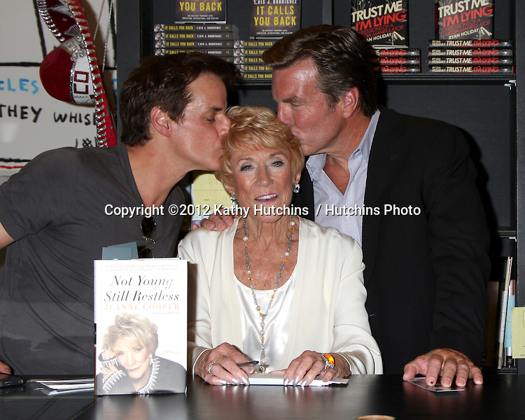 "LOS ANGELES - AUG 7:  Christian LeBlanc, Jeanne Cooper, Peter Bergman at a Book Signing of ""Not Young, Still Restless"" by Jeanne Cooper with Lindsay Harrison at Book Soup on August 7, 2012 in West Los Angeles, CA"