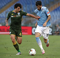 Football, Serie A: S.S. Lazio - Brescia, Olympic stadium, Rome, July 29, 2020. <br /> (r) in action  (l) during the Italian Serie A football match between S.S. Lazio and Brescia at Rome's Olympic stadium, Rome, on July 29, 2020. <br /> UPDATE IMAGES PRESS/Isabella Bonotto