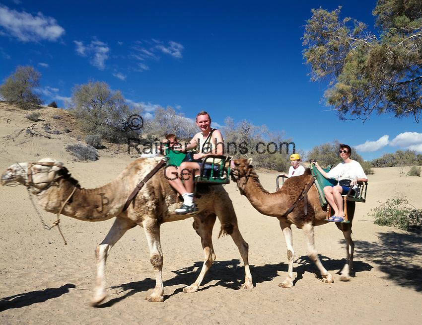 Spanien, Kanarische Inseln, Gran Canaria, Playa de Maspalomas, Dromedar reiten in den Duenen   Spain, Canary Island, Gran Canaria, Playa de Maspalomas, camel ride, dromedary ride