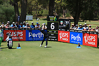Sean Crocker (USA) in action on the 6th during the Matchplay rounds of the ISPS Handa World Super 6 Perth at Lake Karrinyup Country Club on the Sunday 11th February 2018.<br /> Picture:  Thos Caffrey / www.golffile.ie<br /> <br /> All photo usage must carry mandatory copyright credit (&copy; Golffile | Thos Caffrey)