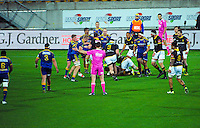 Referee Kane McBride awards a scrum to Otago during the ITM Cup rugby union match between Wellington Lions and Otago at Westpac Stadium, Wellington, New Zealand on Thursday, 17 September 2015. Photo: Dave Lintott / lintottphoto.co.nz