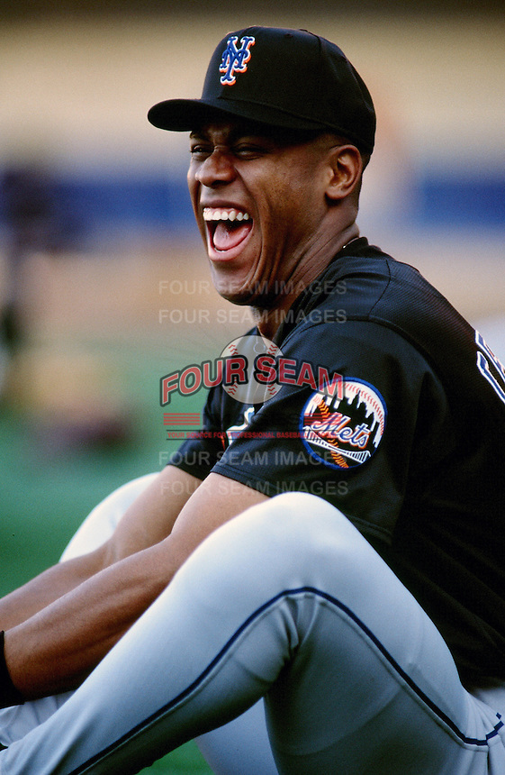 Roger Cedeno of the New York Mets during a game against the Los Angeles Dodgers at Dodger Stadium circa 1999 in Los Angeles, California. (Larry Goren/Four Seam Images)
