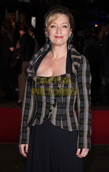 "LESLEY MANVILLE.54th BFI London Film Festival Centrepiece Gala screening of ""Another Year"" at the Odeon Leicester Square, London, England, UK, .October 18th 2010..half length grey gray brown blue plaid jacket buttons .CAP/ROS.©Steve Ross/Capital Pictures"