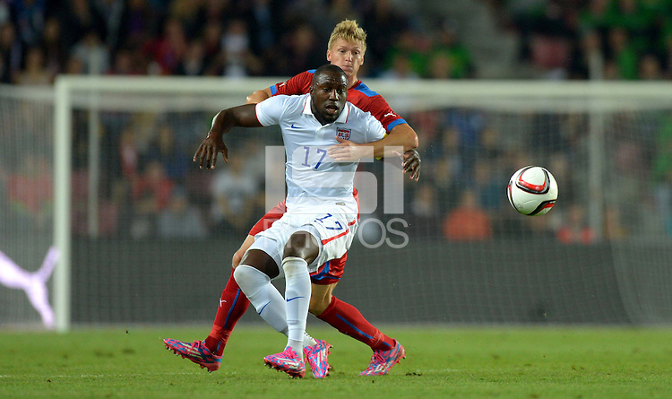 PRAGUE, Czech Republic - September 3, 2014: USA's Jozy Altidore and Vaclav Prochazka of the Czech Republic during the international friendly match between the Czech Republic and the USA at Generali Arena.
