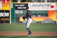 San Jose Giants shortstop Brandon Van Horn (9) during a California League game against the Lancaster JetHawks at San Jose Municipal Stadium on May 12, 2018 in San Jose, California. Lancaster defeated San Jose 7-6. (Zachary Lucy/Four Seam Images)