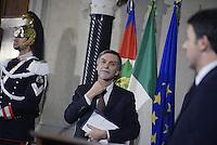 Roma, 21 Febbraio 2014<br /> Quirinale<br /> Matteo Renzi nuovo Premier presenta alla stampa la lista dei Ministri<br /> Nella foto  Graziano Delrio nominato sottosegretario alla Presidenza