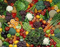 Agriculture - Produce, Large spread of mixed fruits and vegetables.