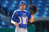 Dunedin Blue Jays catcher Mike Reeves (7) during practice before a game against the Clearwater Threshers on April 8, 2016 at Bright House Field in Clearwater, Florida.  Dunedin defeated Clearwater 8-3.  (Mike Janes/Four Seam Images)