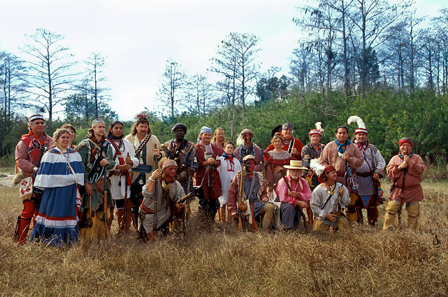 A group of Seminole War re-enactors each year come together and act out the Kissimmee Shoot Out on the Big Cypress Indian Reservation, Florida