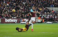West Ham United's Javier Hernandez scores his side's first goal  <br /> <br /> Photographer Rob Newell/CameraSport<br /> <br /> The Premier League - West Ham United v Watford - Saturday 10th February 2018 - London Stadium - London<br /> <br /> World Copyright &copy; 2018 CameraSport. All rights reserved. 43 Linden Ave. Countesthorpe. Leicester. England. LE8 5PG - Tel: +44 (0) 116 277 4147 - admin@camerasport.com - www.camerasport.com