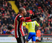 10th February 2018, Bramall Lane, Sheffield, England; EFL Championship football, Sheffield United versus Leeds United; Leon Clarke of Sheffield United cannot believe the referee did not give a penalty