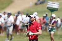 Daniel Berger (USA) hits his second shot on the first hole during the final round of the 118th U.S. Open Championship at Shinnecock Hills Golf Club in Southampton, NY, USA. 17th June 2018.<br /> Picture: Golffile | Brian Spurlock<br /> <br /> <br /> All photo usage must carry mandatory copyright credit (&copy; Golffile | Brian Spurlock)