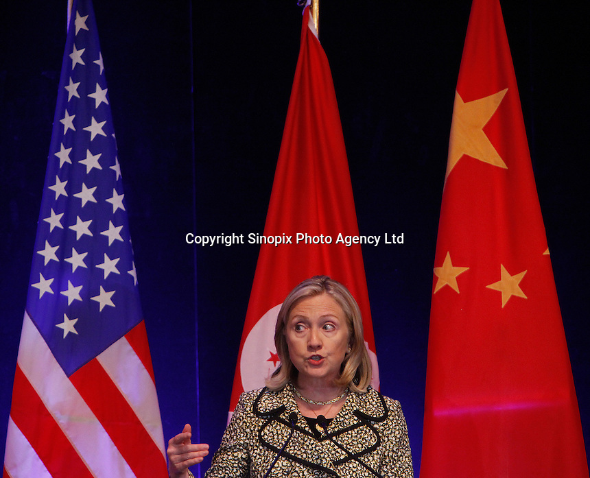 U.S. Secretary of State, Hillary Rodham Clinton addresses a lunchtime gathering of Hong Kong's American Chamber of Commerce, Hong Kong, China 25 July 2011. Clinton is in Hong Kong for the last leg of her Asian tour, which will also take in the southern Chinese city of Shenzhen.