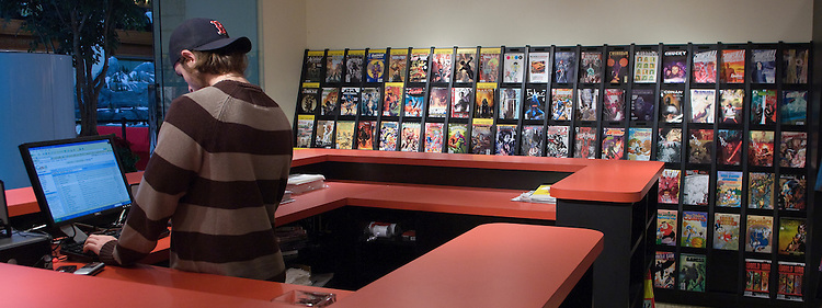 Store Manager Jordan Kessler at Fantom Comics, a new store at Union Station in Washington, D.C.