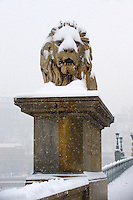 Szechenyi Lanchid (Chain Bridge) in the winter snow. Budapest Hungary stock photos