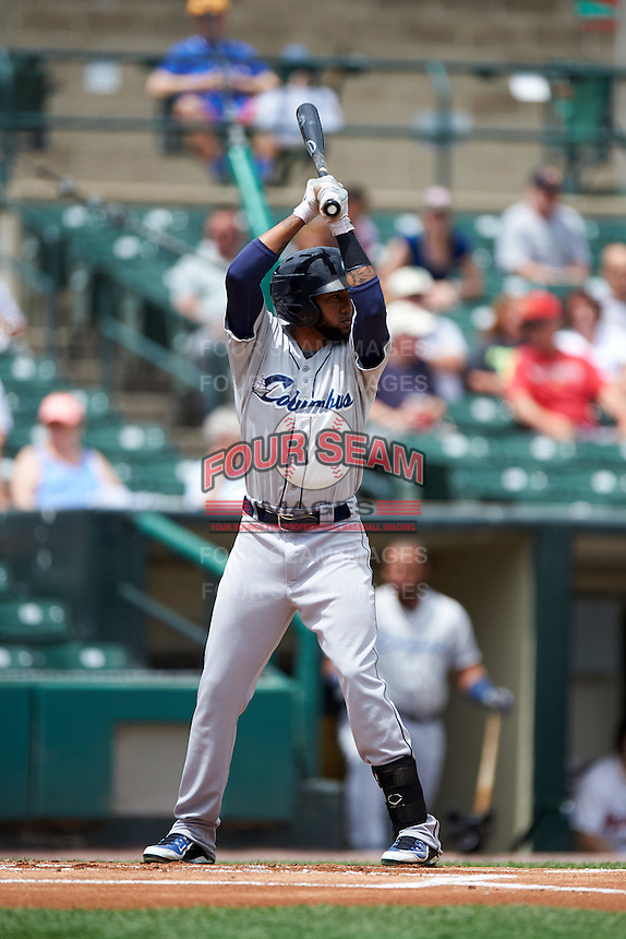 Columbus Clippers right fielder Ronny Rodriguez (13) at bat during a game against the Rochester Red Wings on June 16, 2016 at Frontier Field in Rochester, New York.  Rochester defeated Columbus 6-2.  (Mike Janes/Four Seam Images)