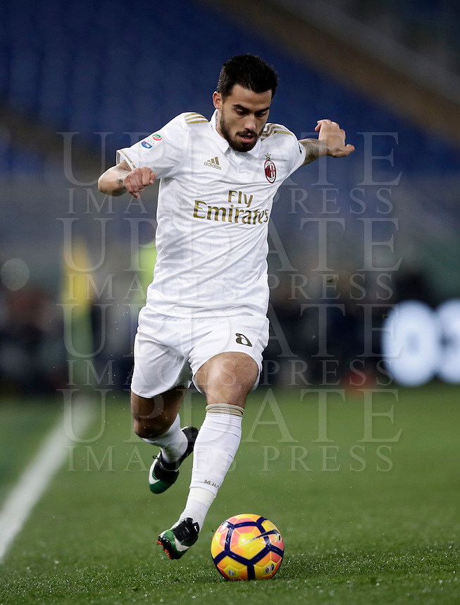 Calcio, Serie A: Roma vs Milan. Roma, stadio Olimpico, 12 dicembre 2016.<br /> Milan's Suso in action during the Italian Serie A football match between Roma and AC Milan at Rome's Olympic stadium, 12 December 2016.<br /> UPDATE IMAGES PRESS/Isabella Bonotto