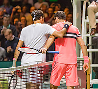 Rotterdam, The Netherlands, 18 Februari, 2018, ABNAMRO World Tennis Tournament, Ahoy, Singles final, Roger Federer (SUI) is congratulated by  Grigor Dimitrov (BUL) (R)<br /> <br /> Photo: www.tennisimages.com
