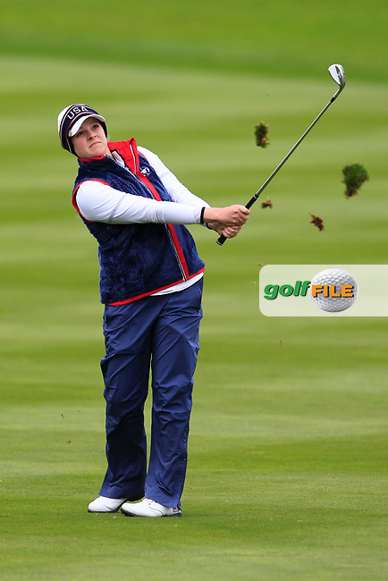 Ally McDonald of Team USA on the 2nd during Day 2 Fourball at the Solheim Cup 2019, Gleneagles Golf CLub, Auchterarder, Perthshire, Scotland. 14/09/2019.<br /> Picture Thos Caffrey / Golffile.ie<br /> <br /> All photo usage must carry mandatory copyright credit (© Golffile | Thos Caffrey)