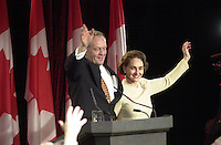 Shawinigan, Nov 28 2000<br /> Reelected Can Prime Minister Jean Chretien and wife Aline on election night in his Shawinigan riding<br /> Photo Pierre Roussel / Newsmakers<br /> NOTE Original size raw file from D 1 see Patrick